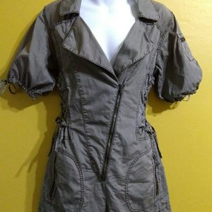 Military style shorts romper zipper lace up 10
